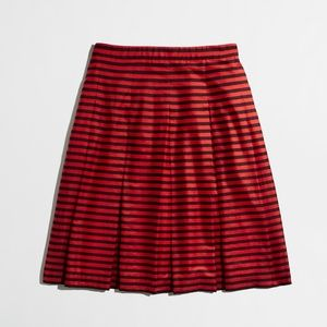J. Crew blue and navy striped A-line pleated skirt